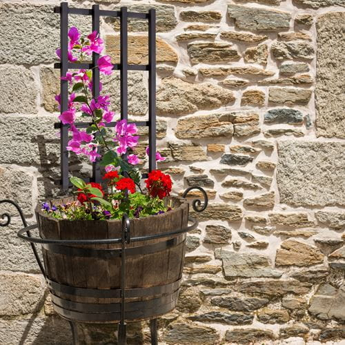 Small wooden barrel trellis with climbing plants. Perfectly sized for garden planters and barrels.