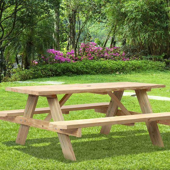 Full Size Wood Picnic Tables Outdoor Essentials