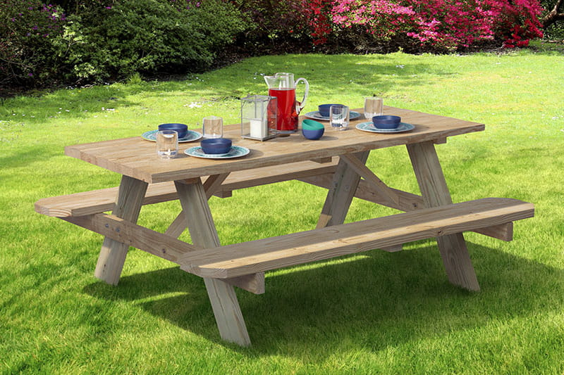 6 foot wood picnic table kit at a park