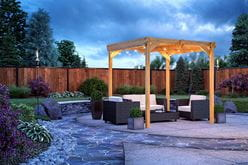 outdoor essentials cedar tone windsor pergola with string lights
