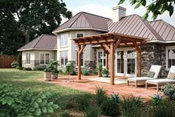 outdoor essentials cedar tone woodlands pergola over patio