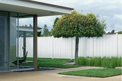 Outdoor Essentials Northport Vinyl Board on Board Privacy Fence lifestyle photo