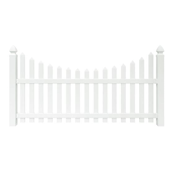 4x8 Yorktown Scalloped Spaced Picket Fence Panel Outdoor