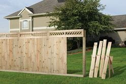 outdoor essentials lattice top semi-privacy fence assembly
