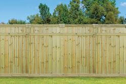 outdoor essentials wood fence with euro top accent kit