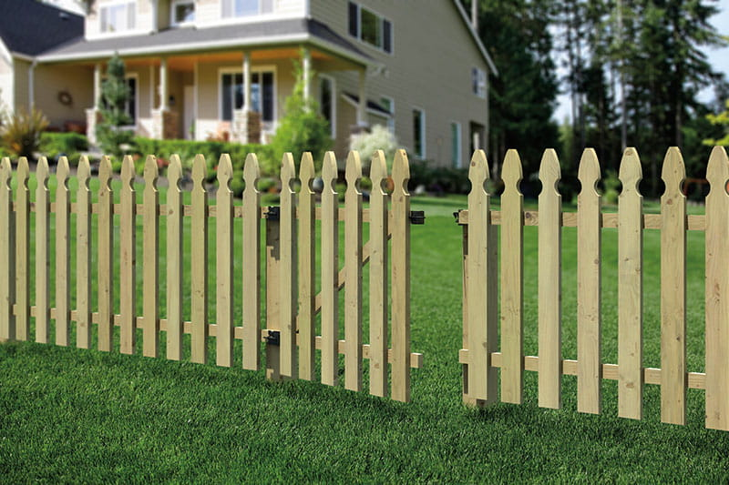 Outdoor Essentials French Gothic Spaced Picket Wood Fence Gate