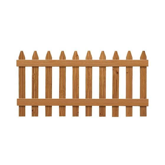 outdoor essentials dura color spaced picket fence kit assembled on white