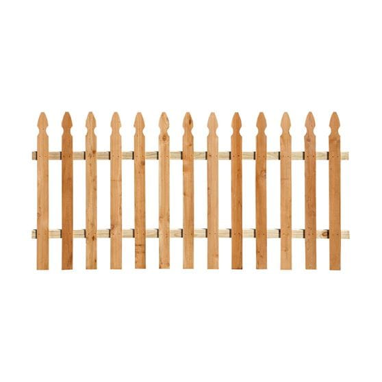 Outdoor Essentials 3.5x8 cedar french gothic spaced picket fence