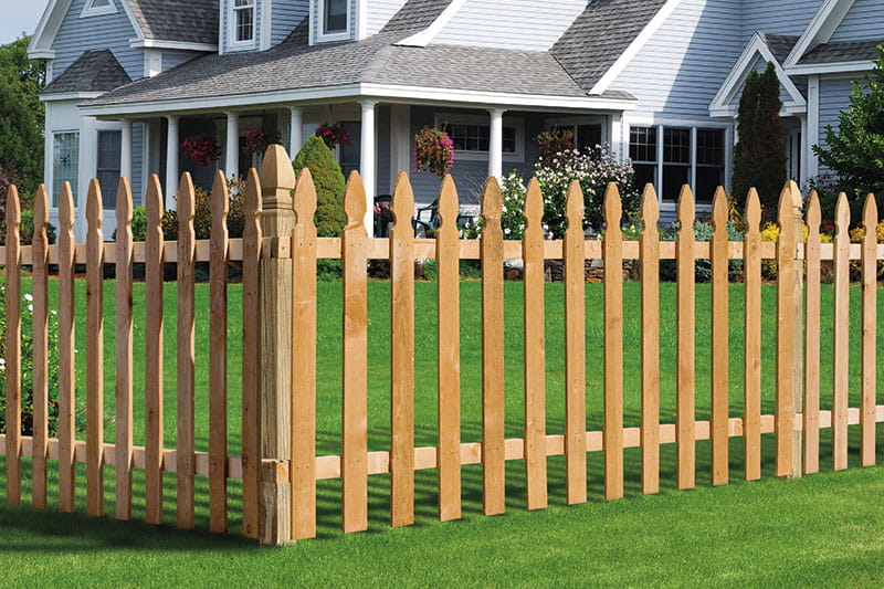 wood picket fence panels. Outdoor Essentials French Gothic Spaced Picket Wood Fence Panel Panels