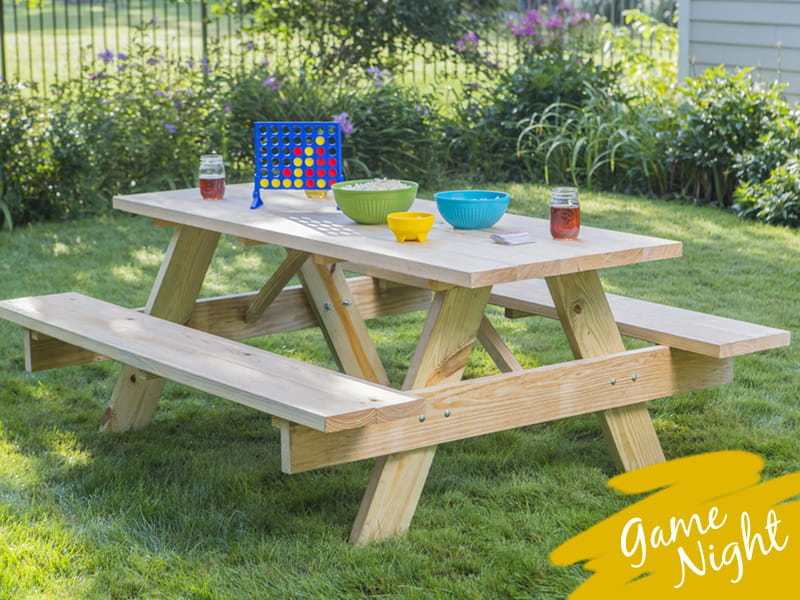 Outdoor Essentials picnic table with outdoor game night