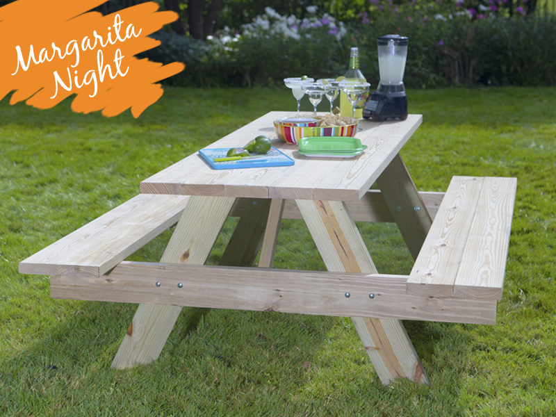 Outdoor Essentials wood picnic table with margarita night