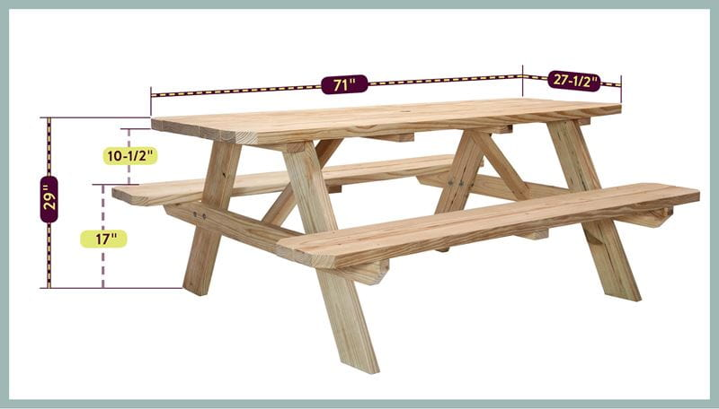Picnic Table Size Photo with dimensions