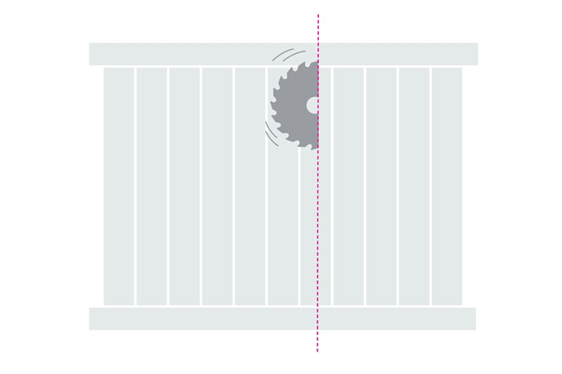 How to cut a vinyl fence panel step 3 - make the cut