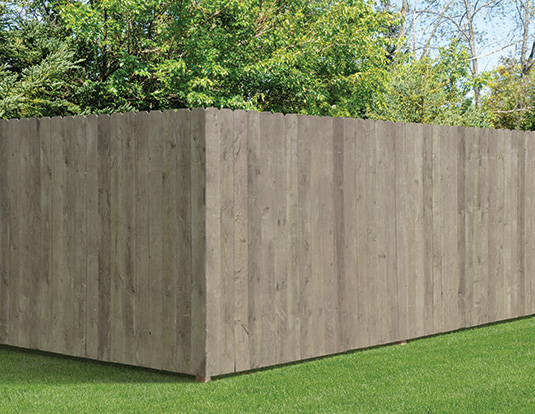 Pre-stained gray dog ear wood privacy fence
