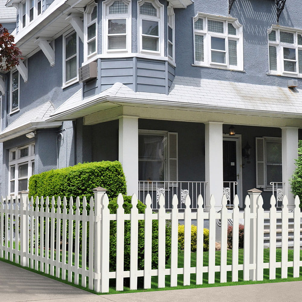 French Gothic White Spaced Picket Fence