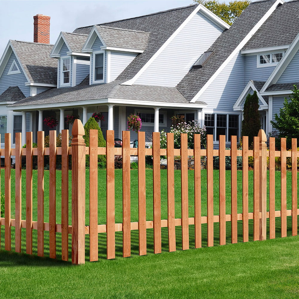Flat Top Wood Spaced Picket Fence