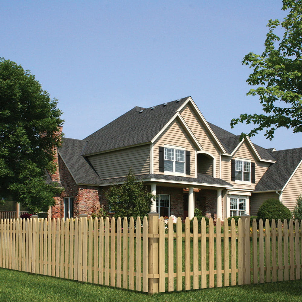 Gothic Spaced Picket Wood Fence