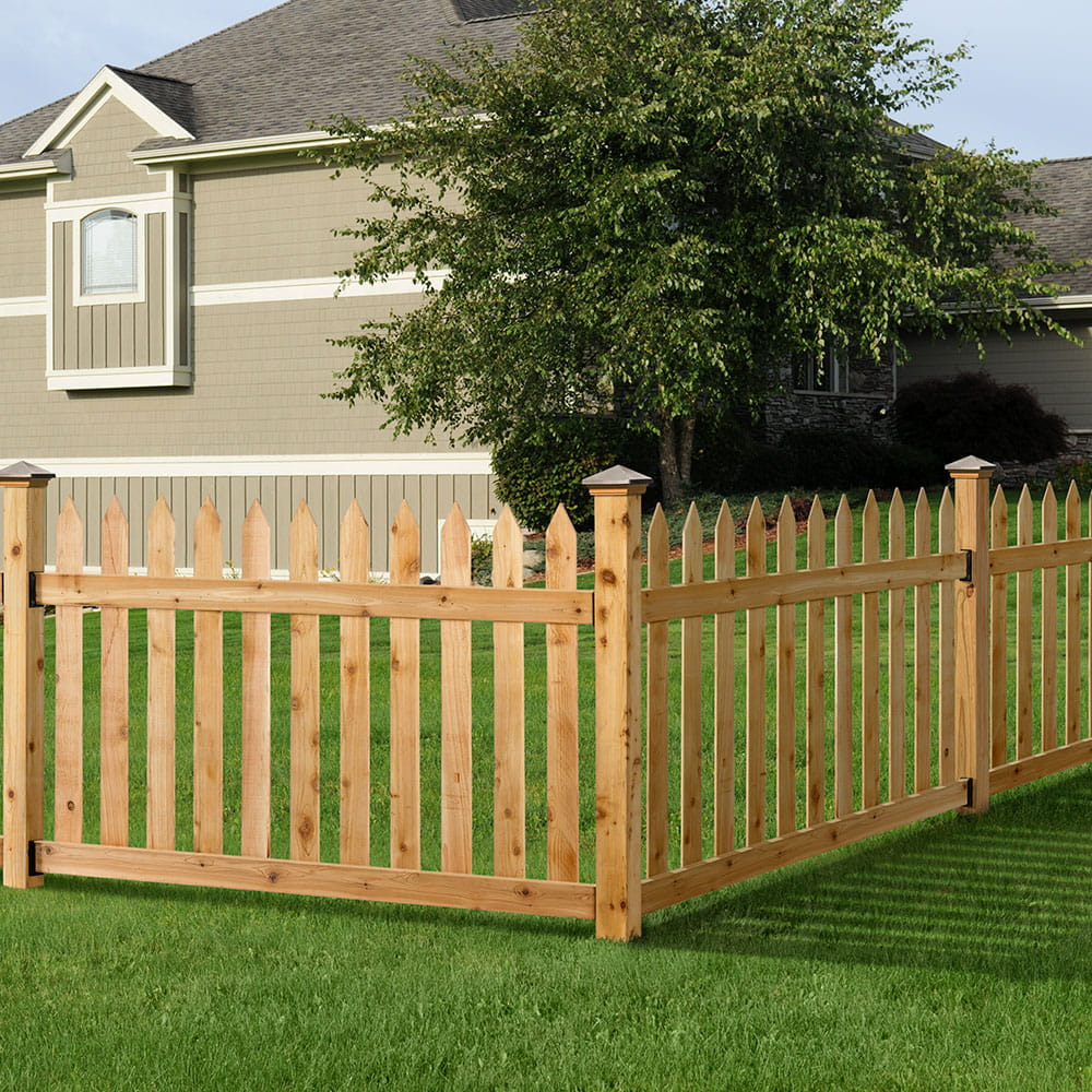 Pointed Spaced Picket Wood Fence