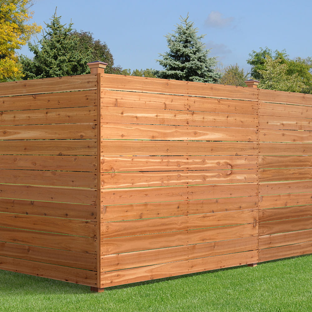 Horizontal Wood Fence with Flat Top Pickets