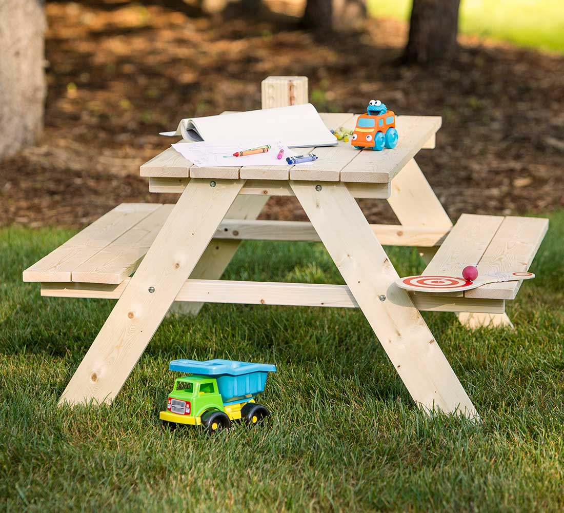 outdoor essentials picnic table with toys