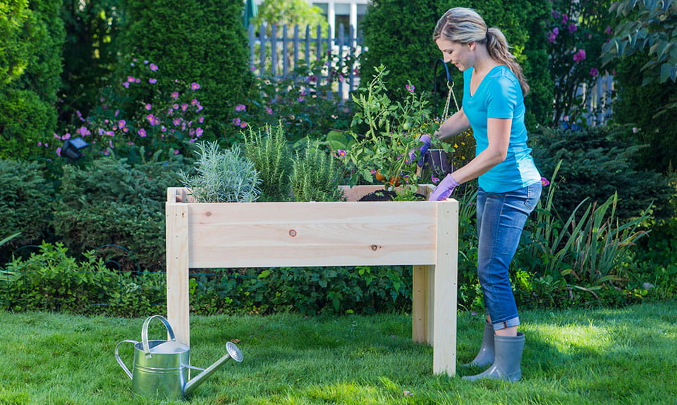 Outdoor Essentials Elevated Garden Planter with woman gardening