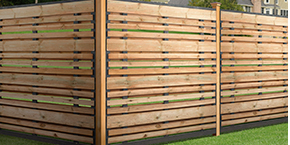 Horizontal Spaced Picket Semi-Privacy Wood Fence with Black Frame