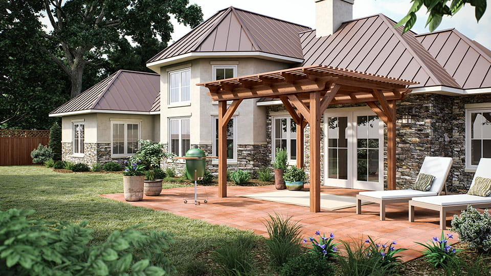 Wooden pergola kit in backyard